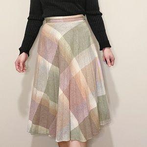 Vintage Plaid Pleated Skirt Wool Midi Length Mauve